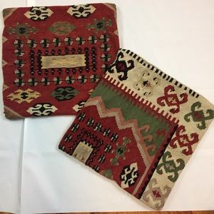 Pottery Barn wool Kilim lot of 2 pillow covers
